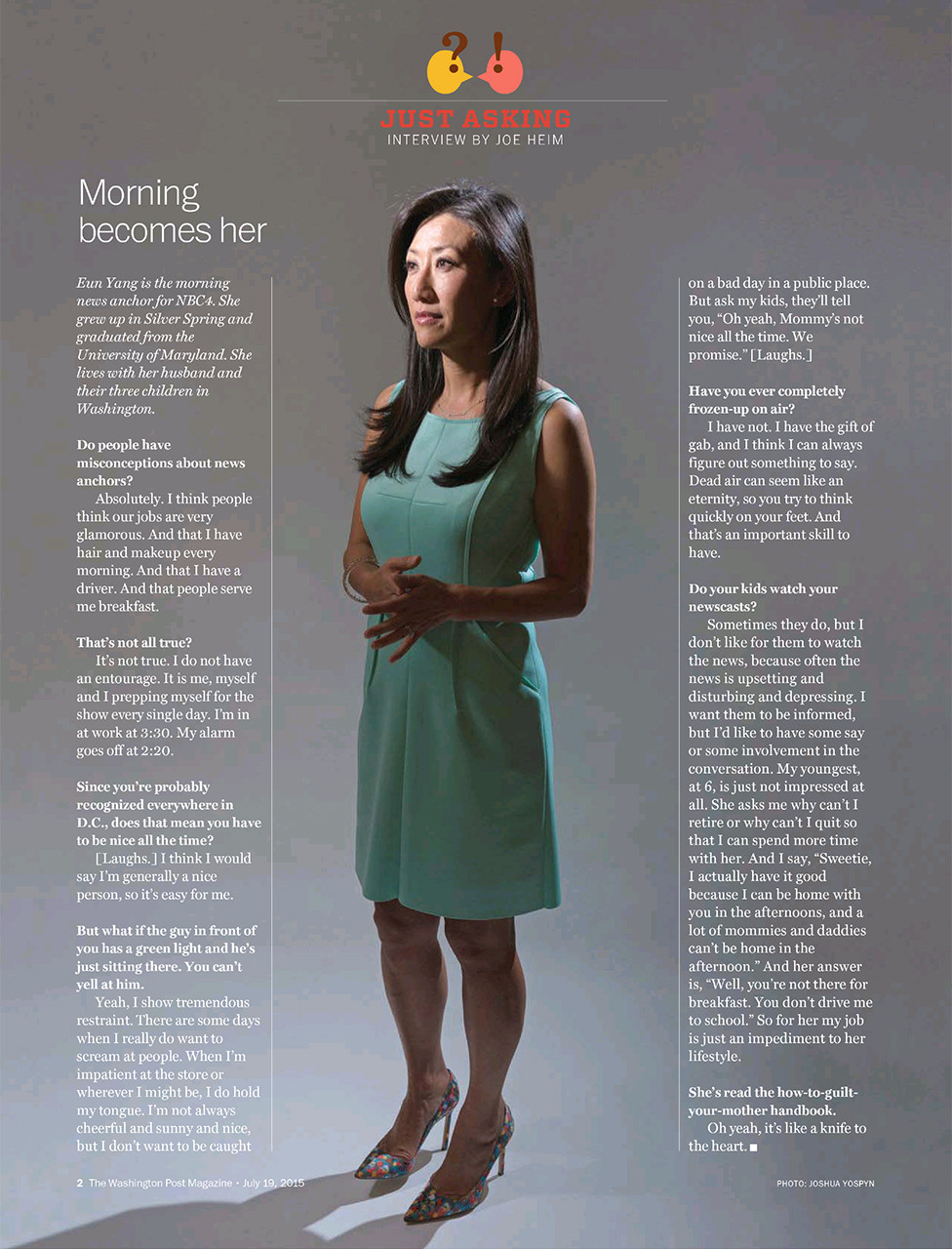 Eun Yang, morning news anchor for NBC4,for The Washington Post Magazine