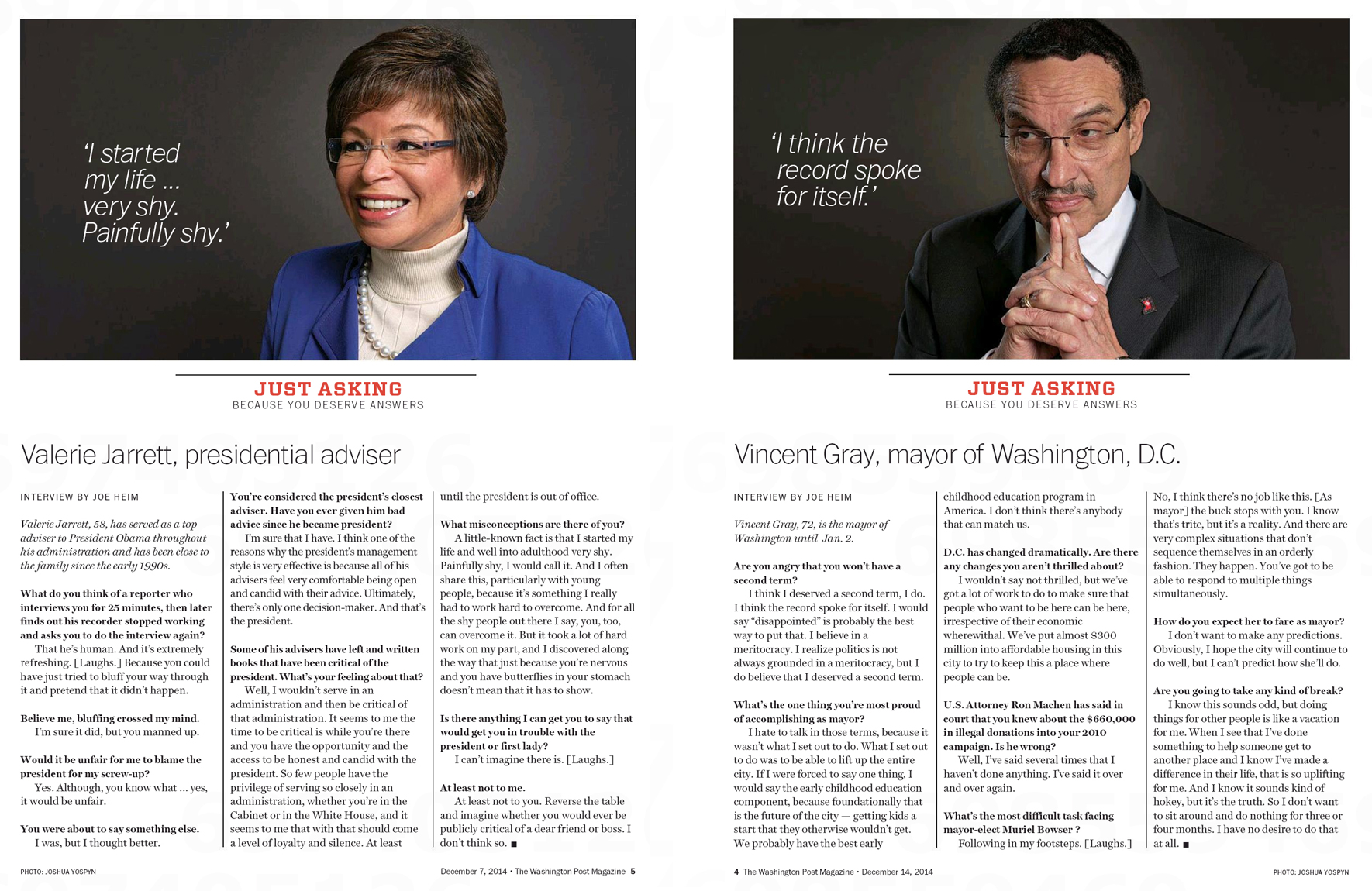 Portraits of Valerie Jarrett, adviser to President Obama, and former D.C. Mayor Vincent Gray for The Washington Post Magazine