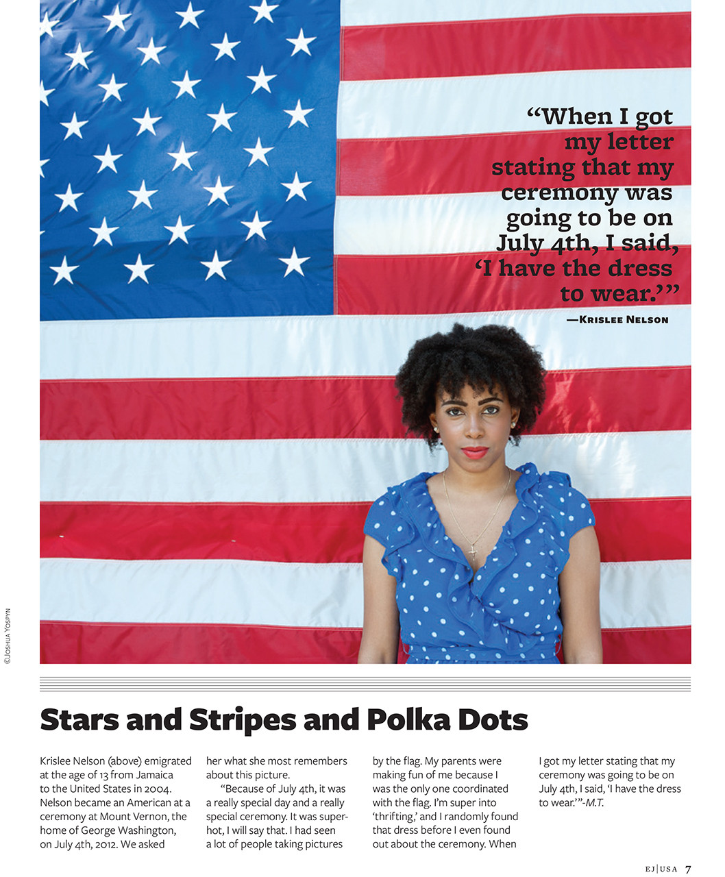 """Portrait of recently naturalized American citizen, published in the U.S. Department of State's """"eJournal USA"""""""
