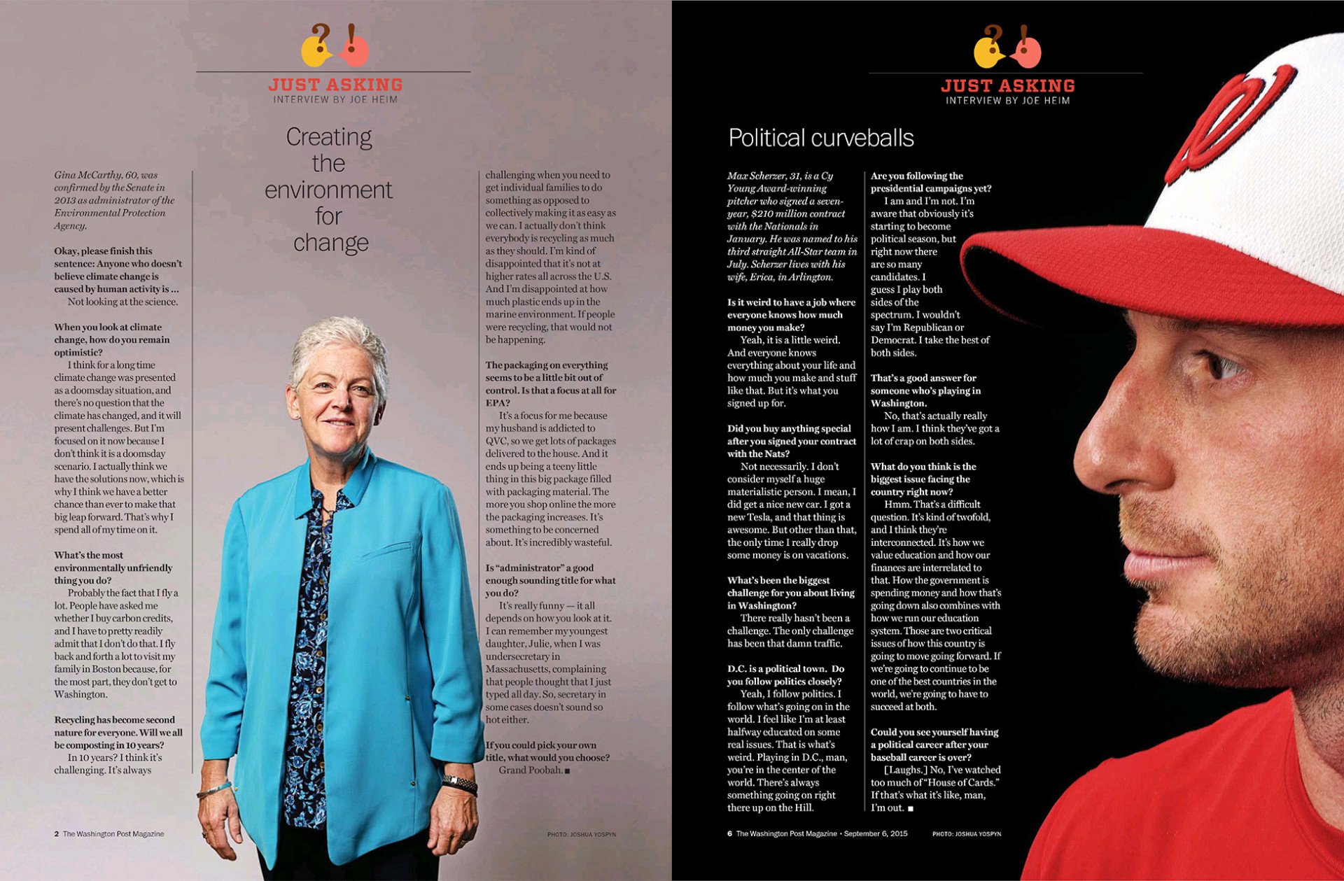 Portraits of Gina McCarthy, EPA Administrator, and Max Scherzer, pitcher for The Nationals, for Washington Post Magazine.