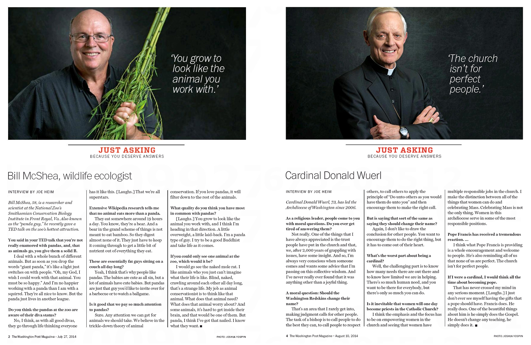 "Portraits of Bill McShea, ""panda guy"" for the National Zoo's Smithsonian Conservation Biology Institute, and Cardinal Donald Wuerl of the Archdiocese of Washington, for The Washington Post Magazine"