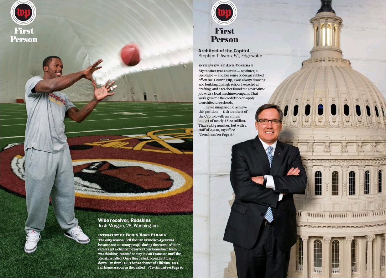 Portraits of Josh Morgan, wide receiver for the Washington Football Team, and Stephen T. Ayers, architect of the Capitol for The Washington Post Magazine