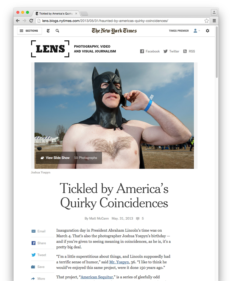 New York Times Lens Blog profile of the American Sequitur project (visit the post)