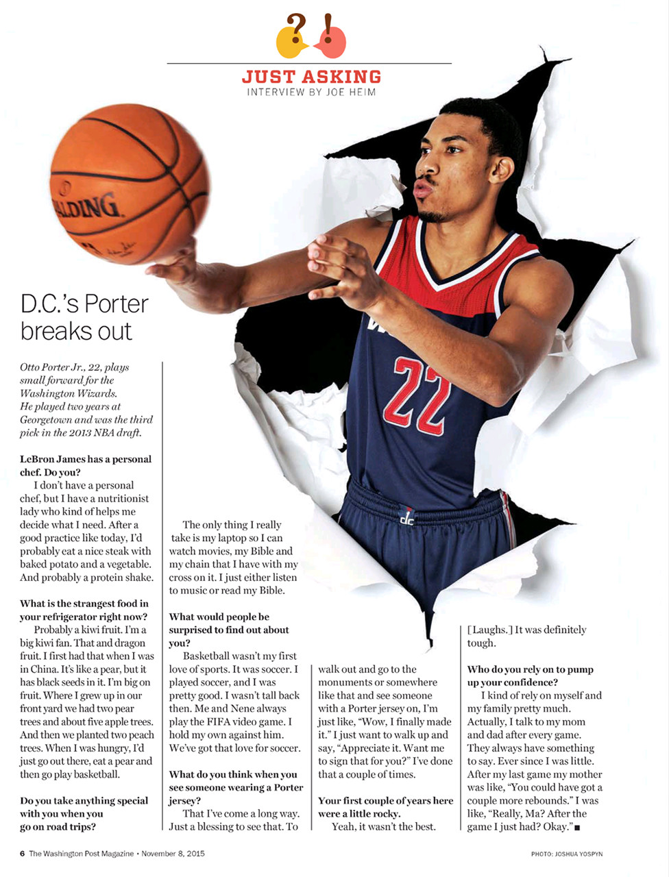 Otto Porter Jr., small forward for the Washington Wizards, for The Washington Post Magazine