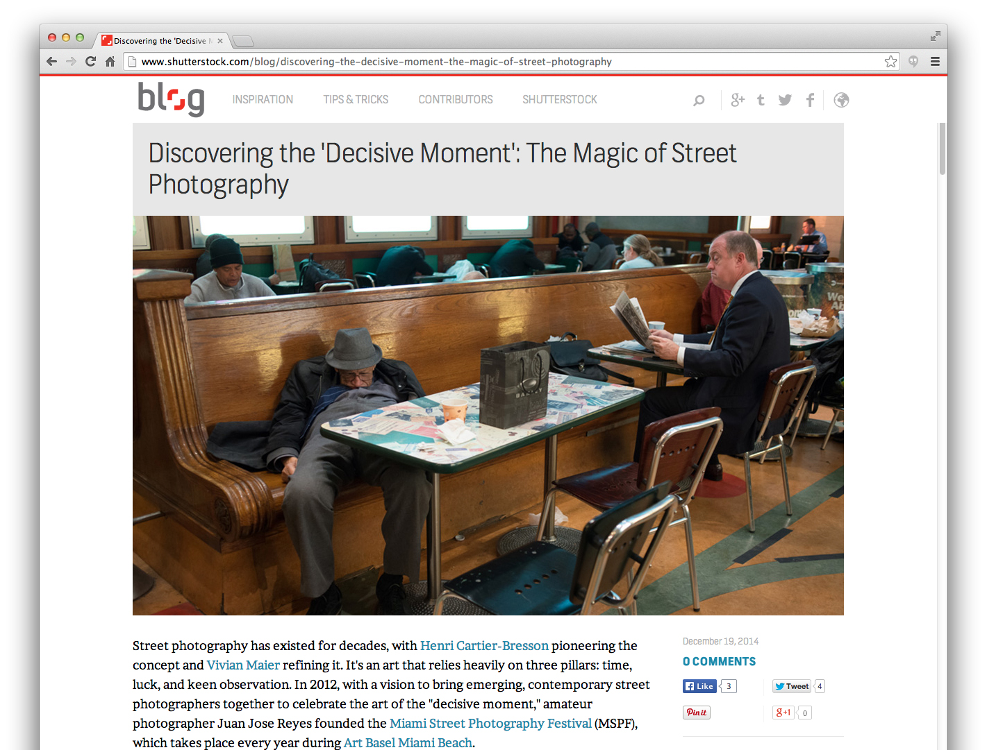 "Featured image on Shutterstock's blog post, ""Discovering the 'Decisive Moment': The Magic of Street Photography"" (visit the post)"