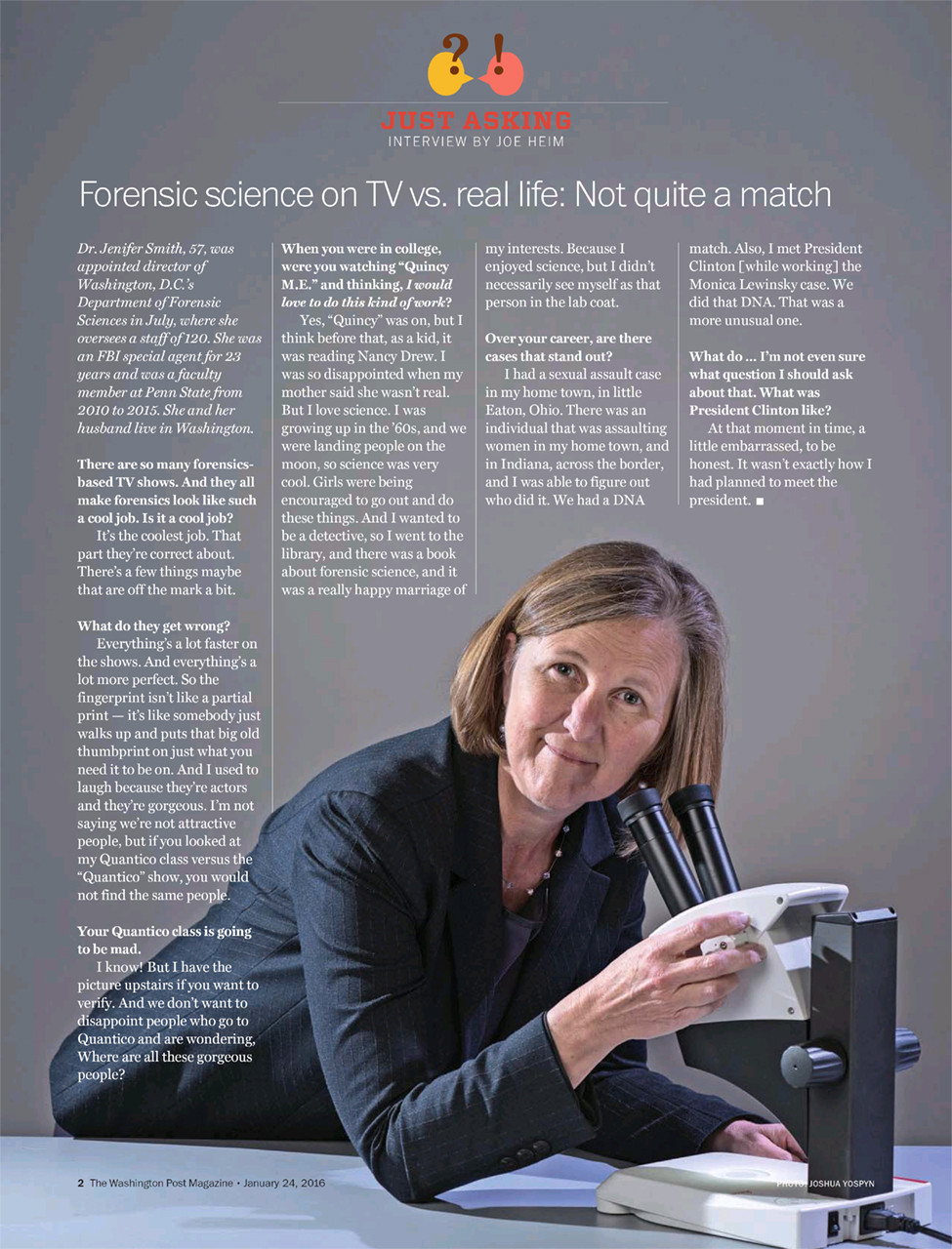 Dr. Jenifer Smith, Director of the Washington, D.C. Department of Forensic Sciences, for Washington Post Magazine.