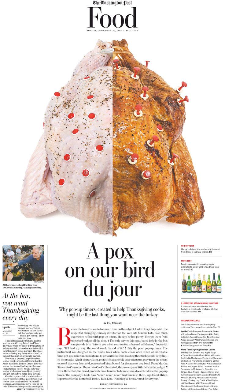 Turkey popper illustration for The Washington Post Food section.