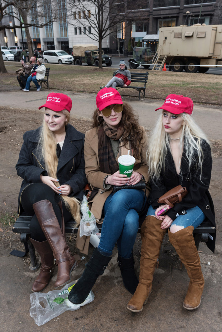 Brooke, 22, from Alaska, sat in Franklin Park between twins Baylee (left) and Cassie, 21-years-old and college students from Pennsylvania.