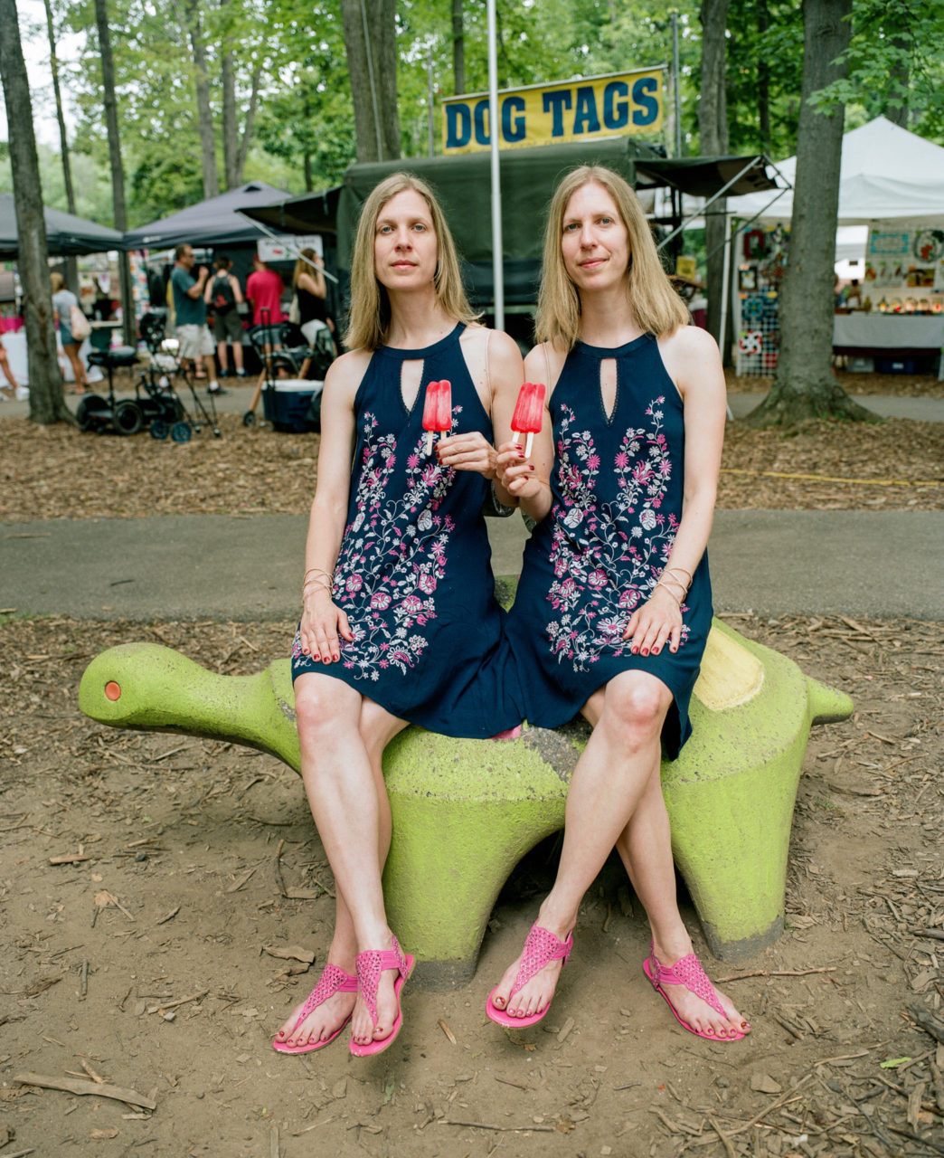 Linda and Laura, 41, of Sheffield, Ohio, have attended this festival every year since they were 3 years old. Linda's more outgoing and her sister more athletic.